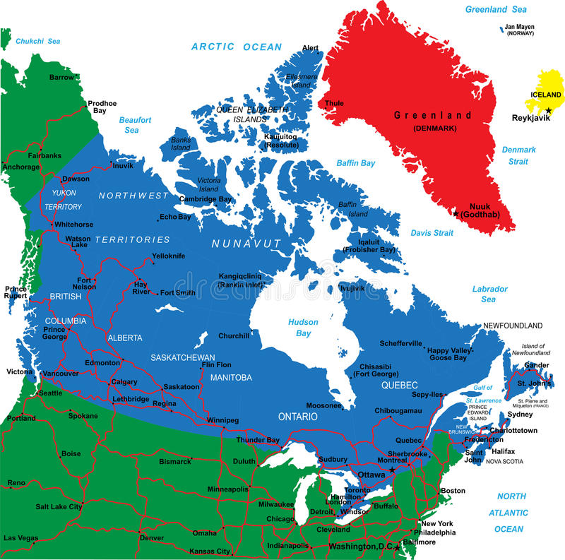 Free Canada Map Royalty Free Stock Photography - 26481937