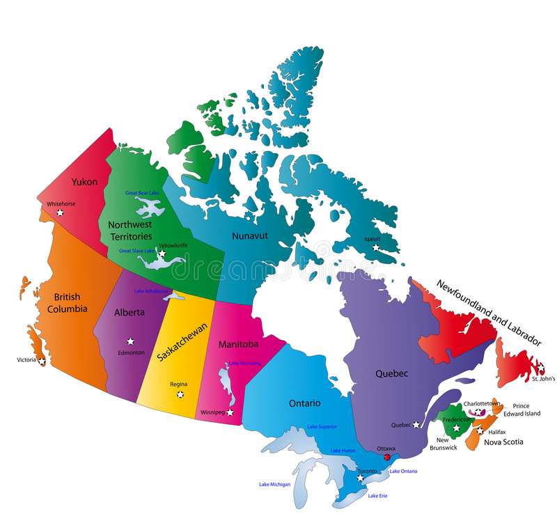 Canada map. Designed in illustration with the states colored in bright colors and with the main cities. Neighbouring countries are in an additional format (. AI