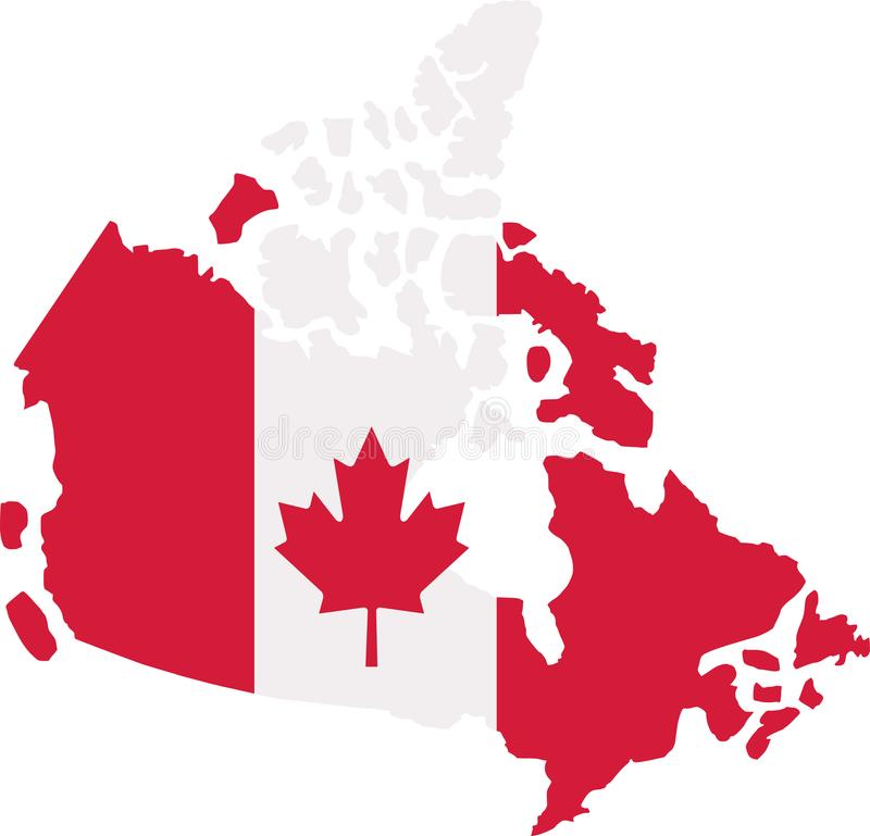 Canadian Flag And Map Of Canada. Stock Illustration