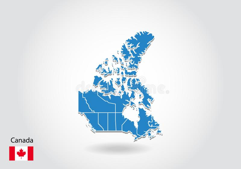 Canada map design with 3D style. Blue canada map and National flag. Simple vector map with contour, shape, outline, on white vector illustration