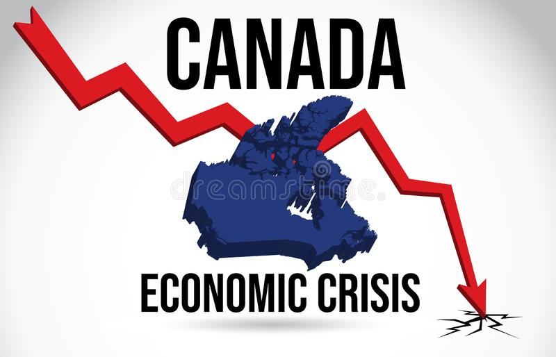 Canada Map Financial Crisis Economic Collapse Market Crash Global Meltdown Vector. Illustration stock illustration