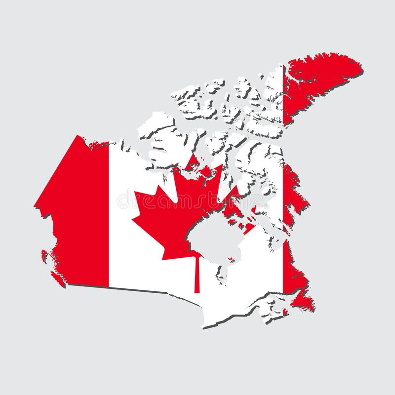 Canada Map Flag Canada Map With Flag Vector Stock Vector