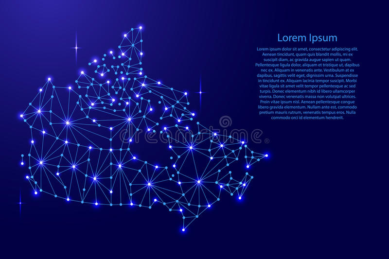Canada map of polygonal mosaic lines network, rays, space stars of illustration. Canada map of polygonal mosaic lines network, rays and space stars of stock illustration