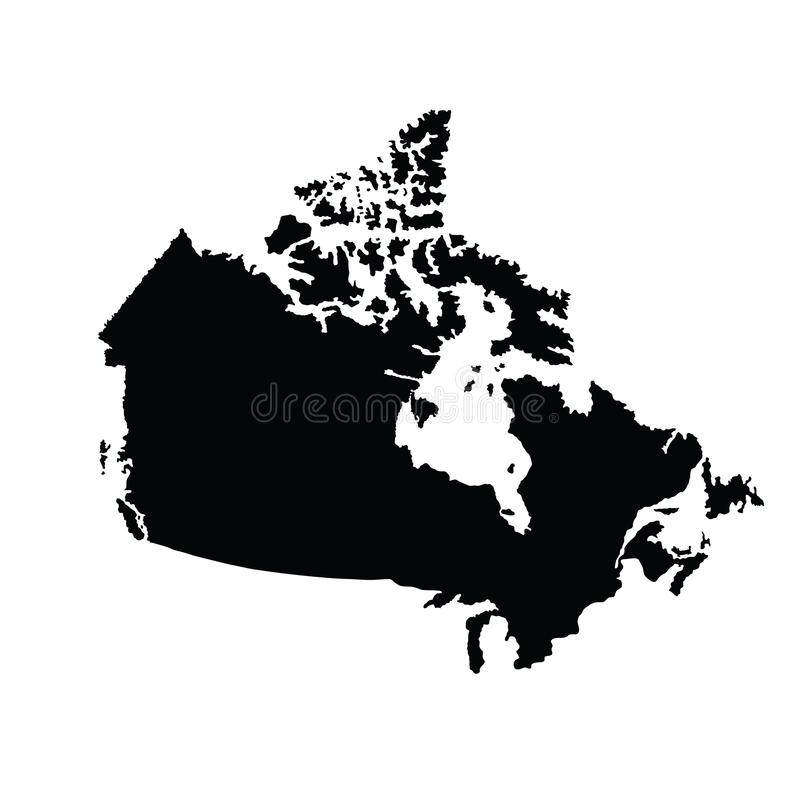 Canada map silhouette. Canada map silhouette isolated on white background. High detailed royalty free illustration