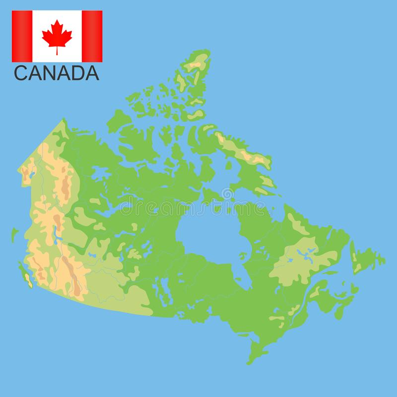 Canada Cartina Fisica.Mappa Fisica Del Canada Illustrazione Vettoriale Illustrazione Di Ontario 91930585