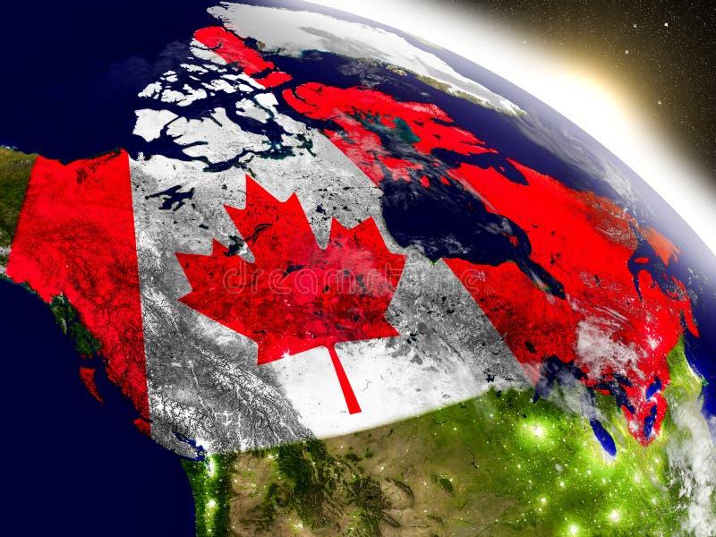 Canada met vlag in het toenemen zon stock illustratie