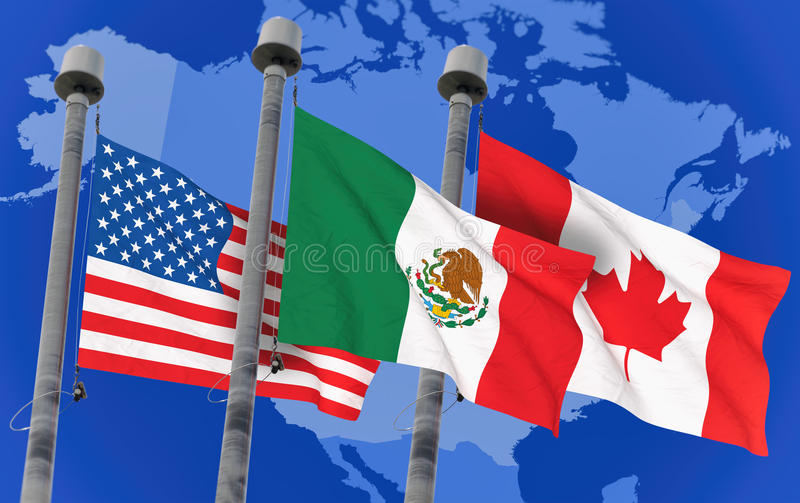 Canada, Mexico and US Flags vector illustration
