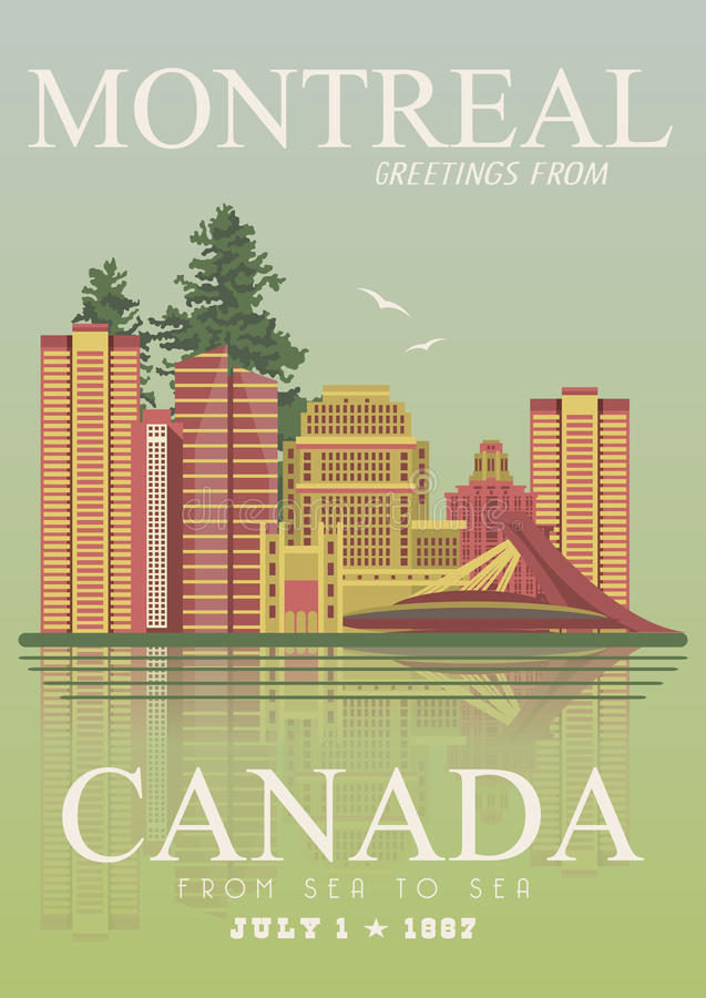 Canada. Montreal. Canadian vector illustration. Vintage style. Travel postcard. Canada. Canadian vector illustration. Travel postcard. Colorful banner. Vintage vector illustration