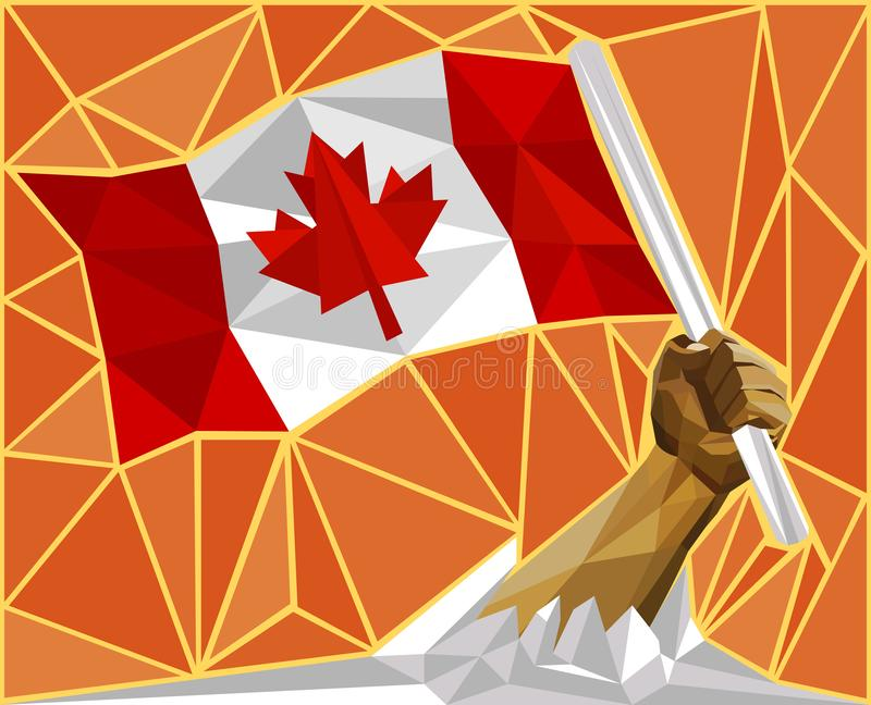 Canada National Flag Freedom Concept. Strong Man`s Hand Raising High The Canadian National Flag Freedom Concept royalty free illustration