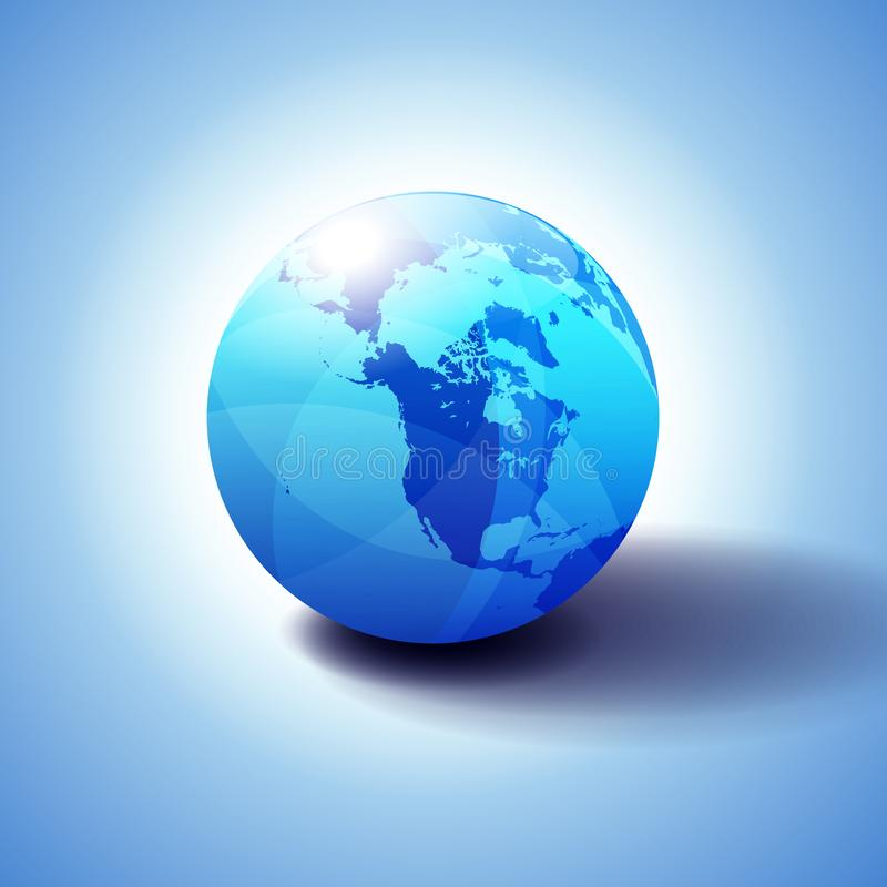 Canada, North America, Siberia and Japan Global World. Globe Icon 3D illustration, Glossy, Shiny Sphere with Global Map in Subtle Blues giving a transparent royalty free illustration