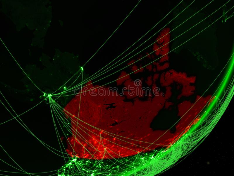 Canada op groene Aarde stock illustratie