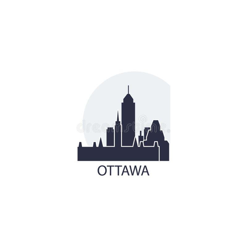 Ottawa city skyline silhouette vector logo illustration stock illustration