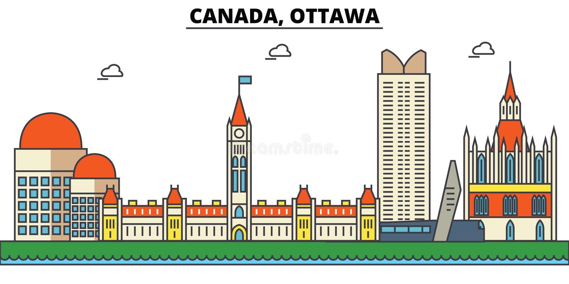 Canada, Ottawa De architectuur van de stadshorizon editable vector illustratie