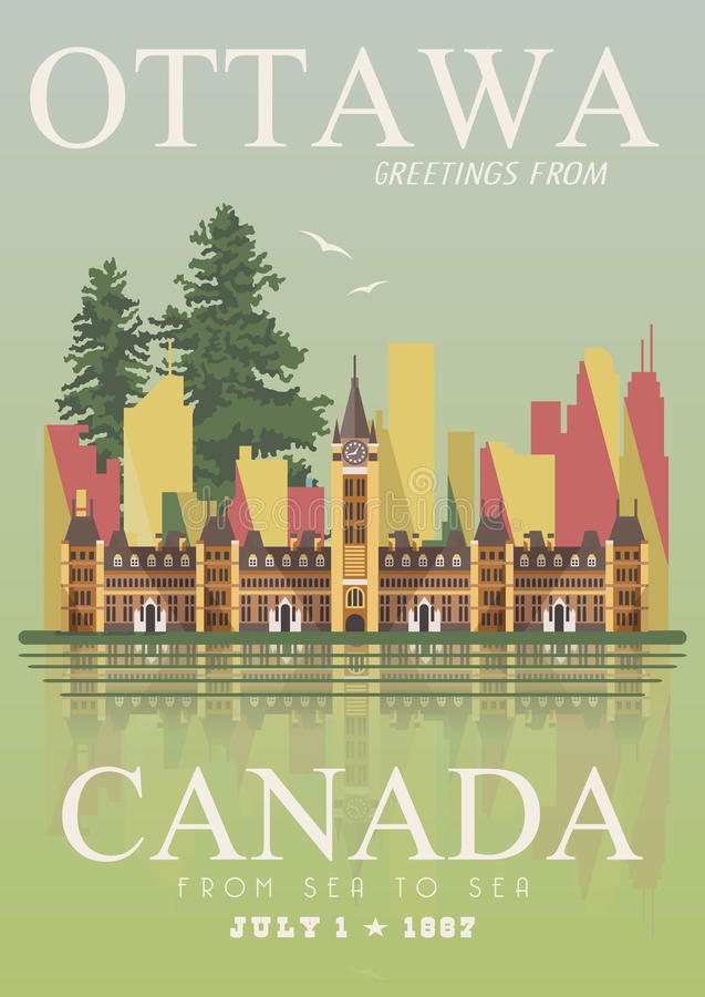 canada ottawa Illustrazione canadese di vettore Stile dell'annata Cartolina di viaggio illustrazione di stock