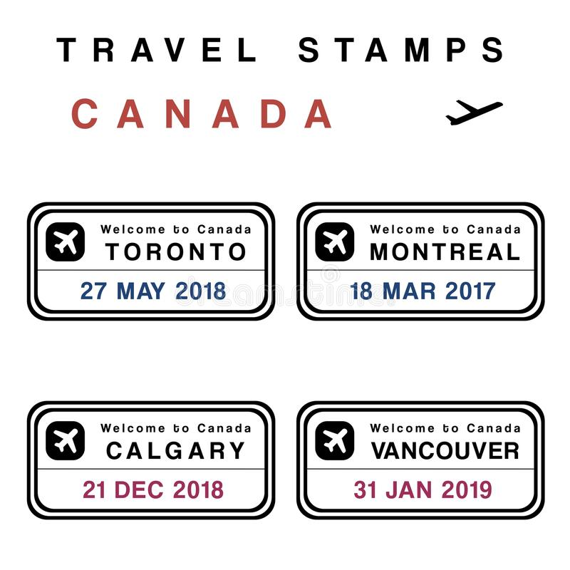 Canada passport stamps stock illustration