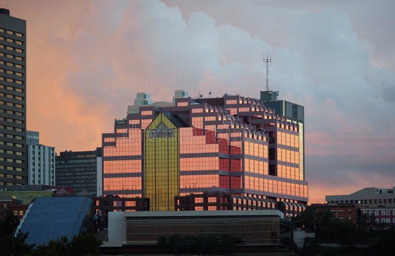 Canada Place Edmonton. Alberta against the setting sun royalty free stock image