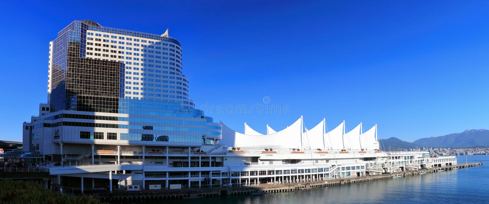 Modern Architecture at Canada Place in the Harbour of Vancouver, British Columbia, Canada. Canada Place at the Harbour of Vancouver is one of the most stock image