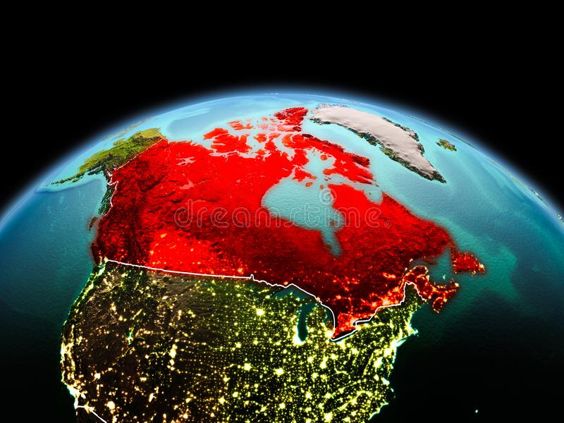 Canada on planet Earth in space. Morning above Canada highlighted in red on model of planet Earth in space with visible border lines and city lights. 3D stock photos