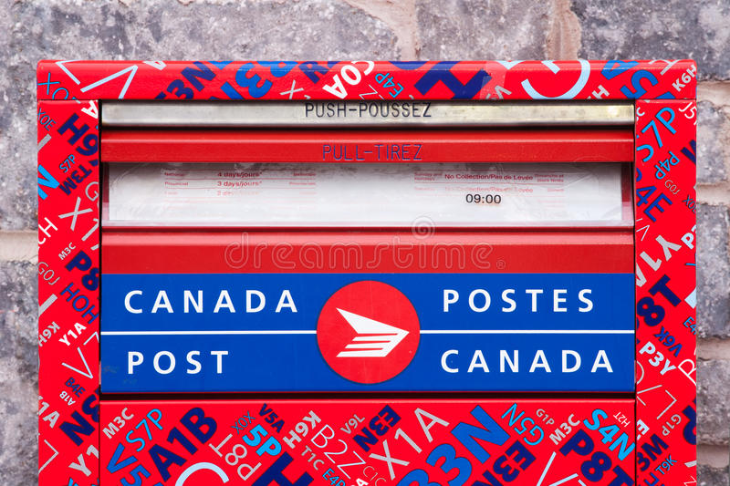 Canada Post Mail Box. DARTMOUTH, CANADA - DEC 06, 2015: Postal box detail. Canada Post Corporation is Canada's main postal service provider. Canada Post is a stock images