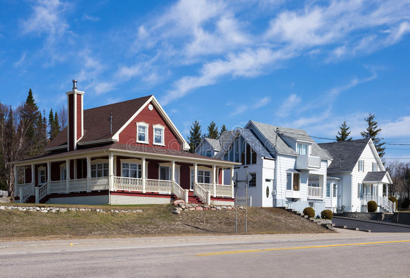Canada. Quebec, Baie des Rochers, traditional houses royalty free stock photos