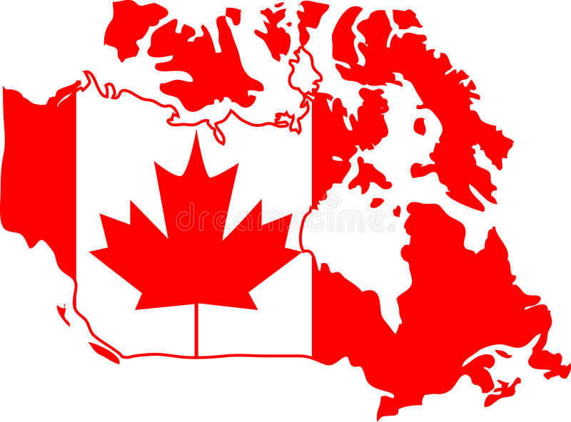 Canada. Red and white Canada map