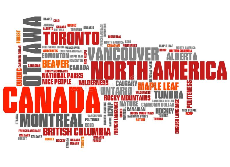Canada. Related symbols and concepts word cloud illustration. Word collage concept royalty free illustration