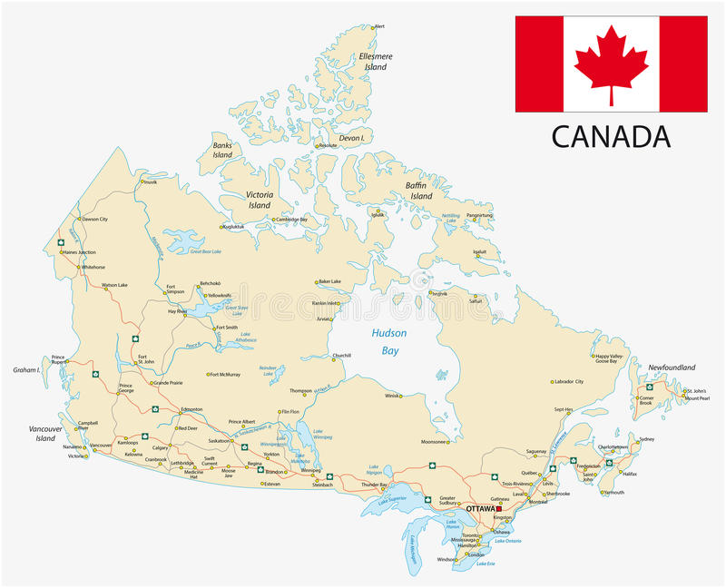 Canada road map with flag stock illustration