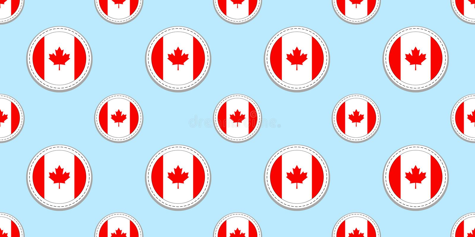 Canada round flag seamless pattern. Canadian background. Vector circle icons. Geometric symbols. Texture for sports. Pages, competition, games. travelling vector illustration