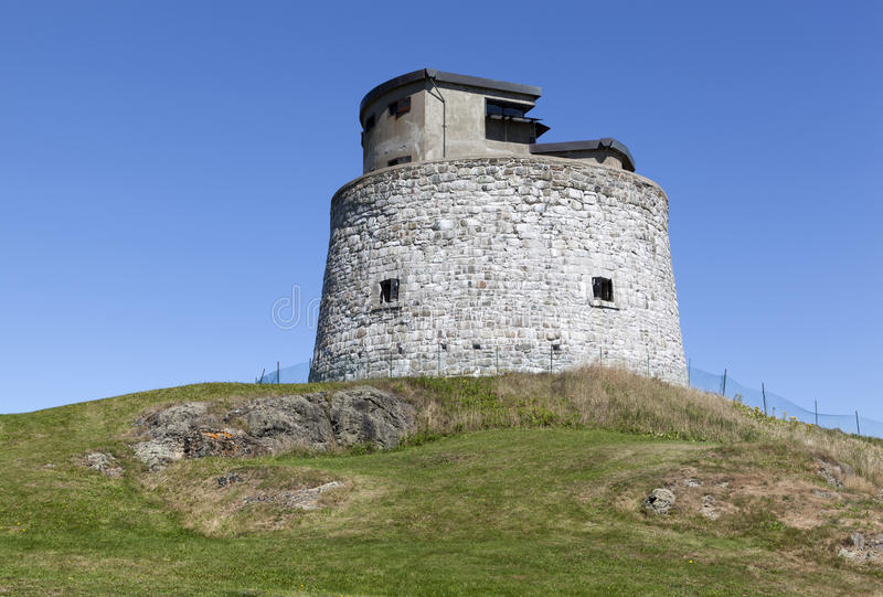Canada`s Historic Tower. Carleton Martello Tower is a historic defense structure in Saint John town New Brunswick, Canada stock image
