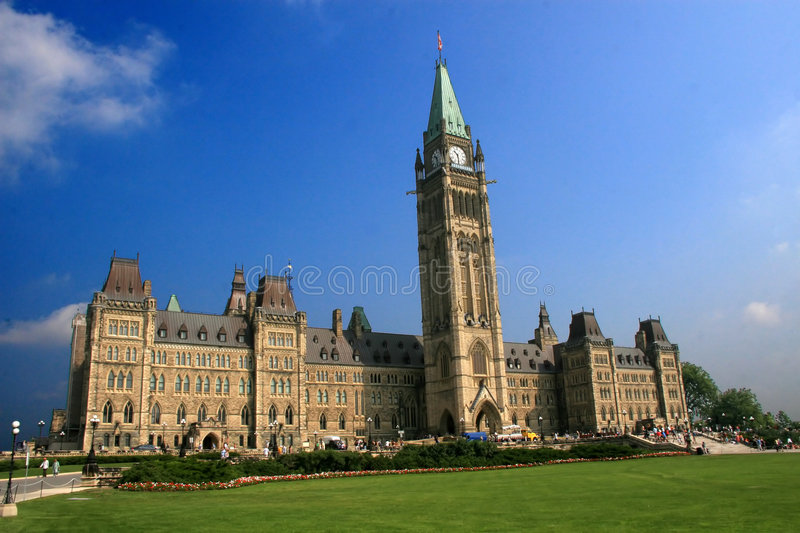 Canada's National Parliament. The Parliament Buildings of Canada, seat of the nation's federal government, in the capital of Ottawa royalty free stock photography