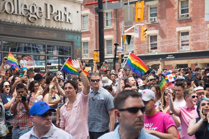 Canada`s Prime Minister Justin Trudeau waving at Toronto Pride stock images