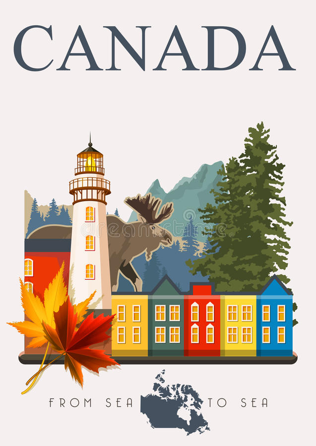 Canada. From sea to sea. Canadian vector illustration. Vintage style. Travel postcard. Canada. Canadian vector illustration. Travel postcard. Colorful banner stock illustration