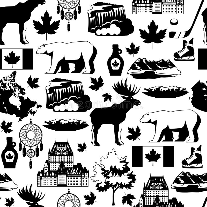Canada seamless pattern. Canadian traditional symbols and attractions vector illustration
