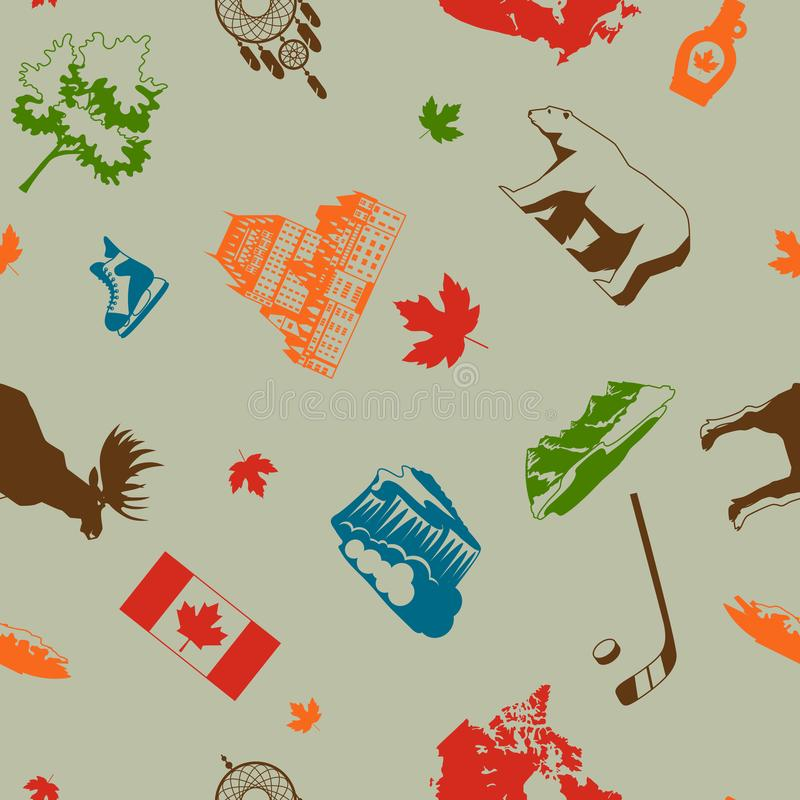 Canada seamless pattern. Canadian traditional symbols and attractions royalty free illustration