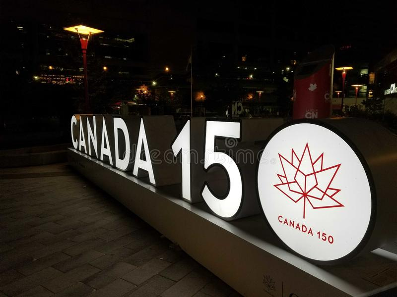 Canada 150 sign Toronto royalty free stock images