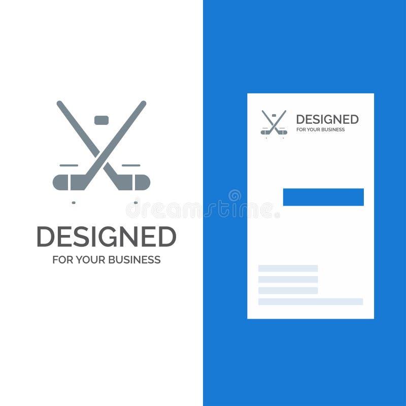 Canada, Spel, Hockey, Ijs, Olympics Grey Logo Design en Visitekaartjemalplaatje vector illustratie