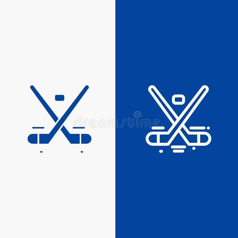 Canada, Spel, Hockey, Ijs, Olympics Lijn en Lijn van de het pictogram Blauwe banner van Glyph de Stevige en Stevige het pictogram stock illustratie