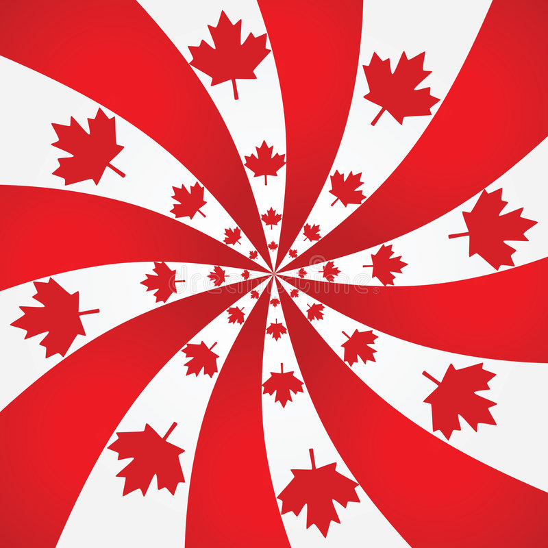Canada spiral background. Background with Canada colors and maple leaf on a spiral stock illustration