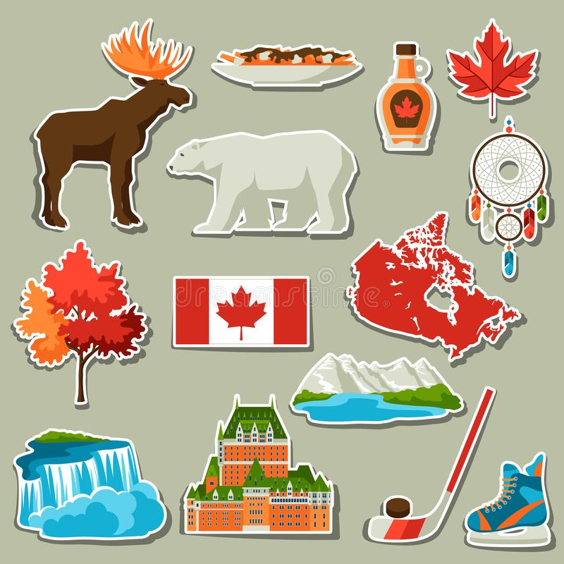 Canada sticker icons set. Canadian traditional symbols and attractions vector illustration