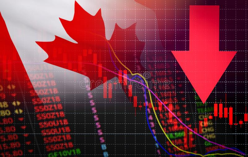 Canada Stock Exchange market crisis red market price down chart fall Business and finance money crisis background red negative. Canada Stock Exchange market stock illustration