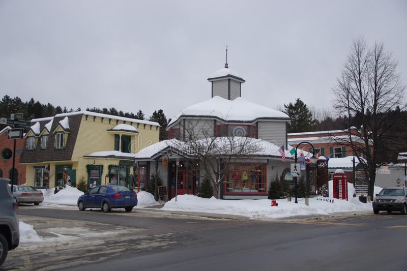 Canada, street scene in a village in the province of Quebec stock images
