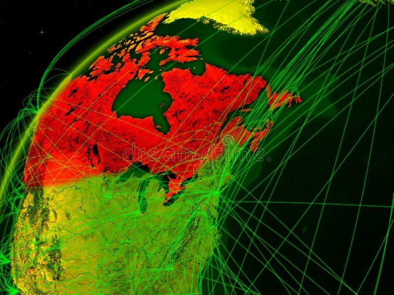 Canada ter wereld met netwerk royalty-vrije illustratie