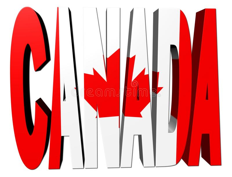 Download Canada text with flag stock illustration. Image of render - 12516223