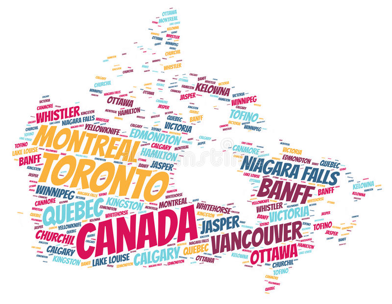 Canada top travel destinations word cloud. Canada Map silhouette word cloud with most popular travel destinations vector illustration