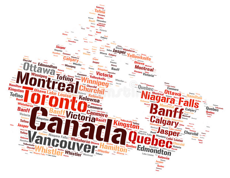 Canada top travel destinations word cloud. Canada Map silhouette word cloud with most popular travel destinations stock illustration