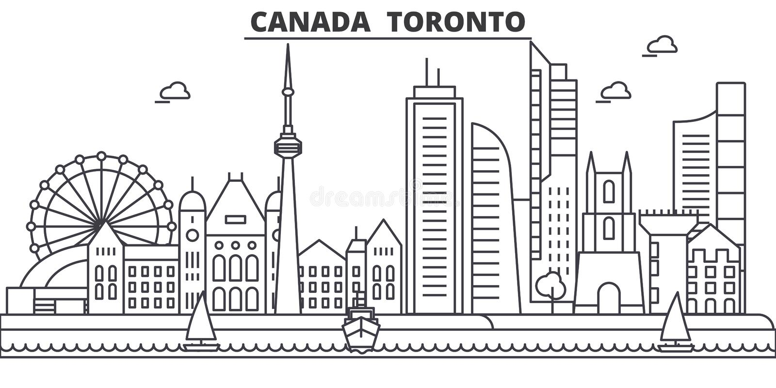 Canada, Toronto architecture line skyline illustration. Linear vector cityscape with famous landmarks, city sights royalty free illustration