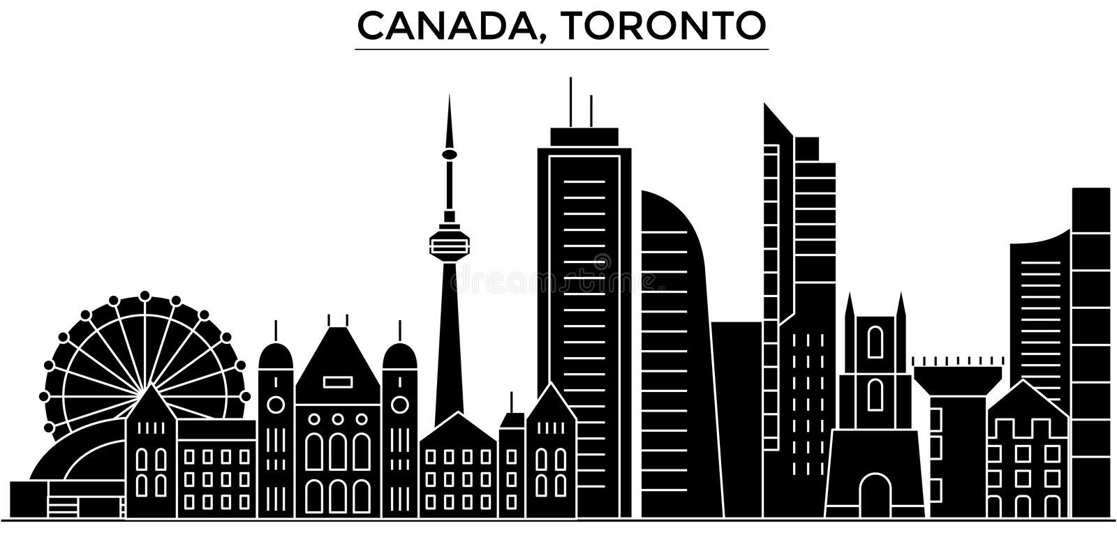 Canada, Toronto architecture vector city skyline, travel cityscape with landmarks, buildings, isolated sights on stock illustration