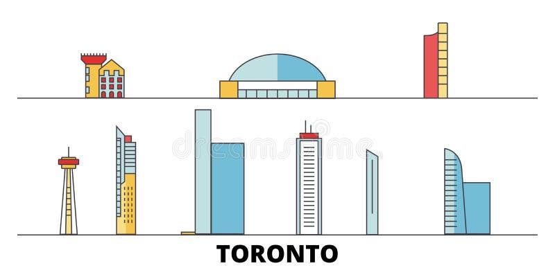 Canada, Toronto City flat landmarks vector illustration. Canada, Toronto City line city with famous travel sights. Design skyline royalty free illustration
