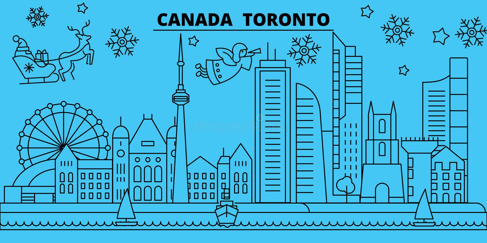 Canada, Toronto city winter holidays skyline. Merry Christmas, Happy New Year decorated banner with Santa Claus.Canada. Canada, Toronto city winter holidays stock illustration