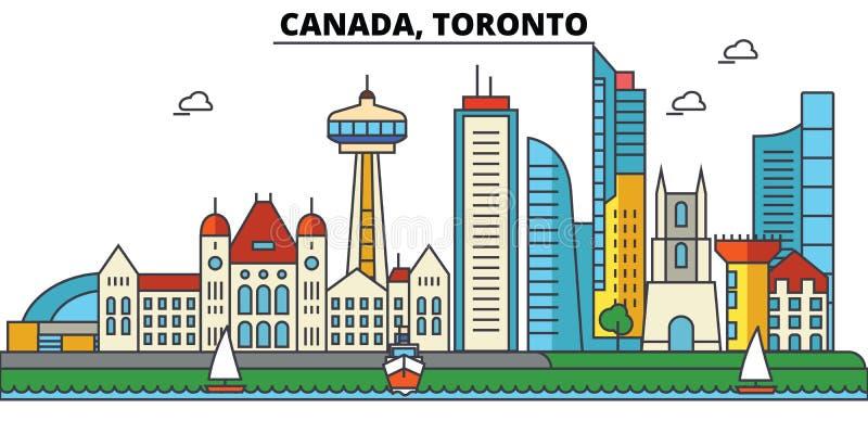 Canada, Toronto De architectuur van de stadshorizon royalty-vrije illustratie